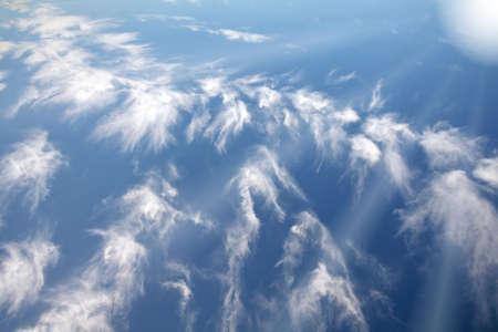 cloudshape: Beautiful cloudshape with sunrays and blue sky  Stock Photo