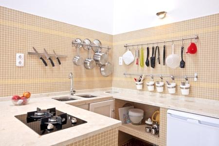 Moderne nieuwe keuken interieur Stockfoto
