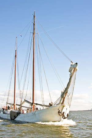 ijsselmeer: Sailboat cruising on the IJsselmeer Stock Photo