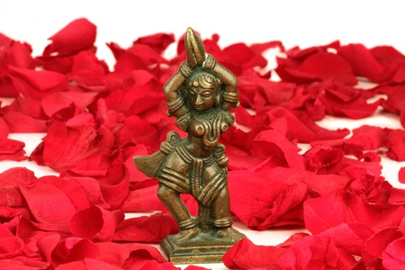 Dancing Devi on red rose petals  photo