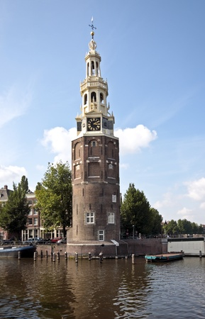 cruiseboat: View on the watertower in Amsterdam the Netherlands Stock Photo