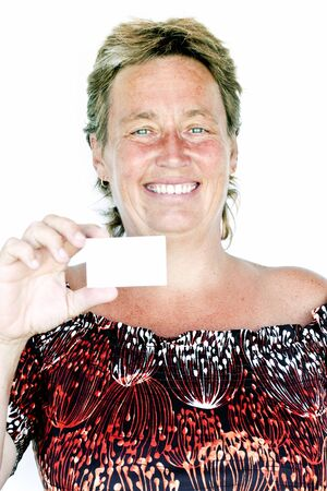 beautiful middle aged woman: Beautiful middle aged woman with empty business card