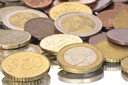 five cents: Euro coins, can be used as background  Stock Photo
