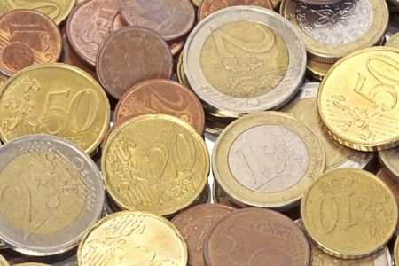 Euro coins, can be used as background  Stock Photo