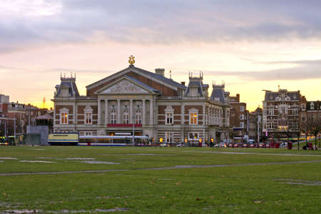 Concertgebouw at twilight in Amsterdam Netherlands