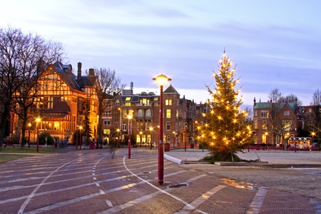 christmastime: Museumplein at christmastime in Amsterdam the Netherlands at twilight