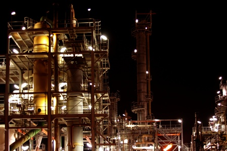 Chemical installation by night in the Netherlands