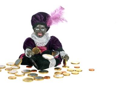 Zwarte piet met geld voor 5 december feest in Nederland