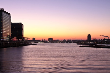 amstel river: Harbor from Amsterdam in the Netherlands at sunset