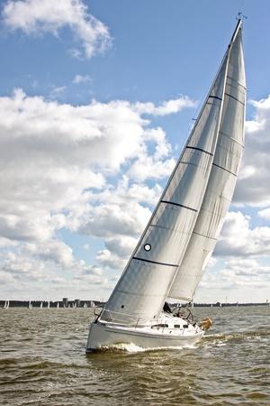 ijsselmeer: Sail yacht sailing on the IJsselmeer in the Netherlands