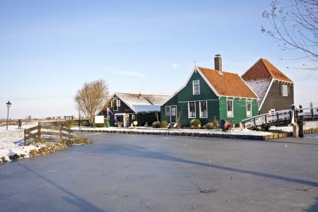 overflakkee: Wooden houses in Marken in winter in the Netherlands