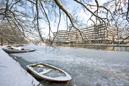 Snowy Amsterdam in winter in the Netherlands photo