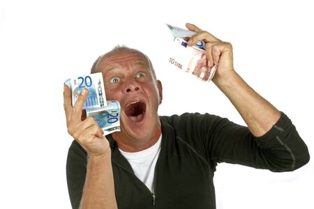 Man totally excited after winning the lotery  photo