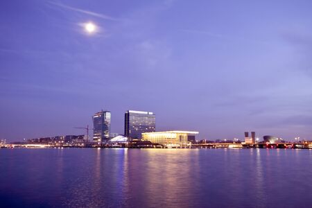Amsterdam skyline with the musicbuilding at the IJ in the Netherlands  photo