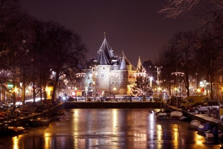 Medieval building De Waag in Amsterdam the Netherlands with christmas time