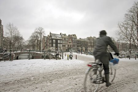Snowy Amsterdam in wintertime in the Netherlands photo