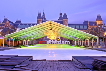 Amsterdam at the Museumplein with christmas in the Netherlands