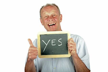 Positive man showing thumbs up with sign Stock Photo - 12778651