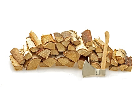 firewood: Wood blocks and an ax on a white background