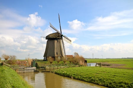 traditional windmill in dutch landscape in the Netherlands photo