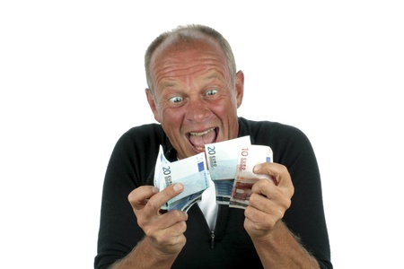Man totally excited after winning the lotery on a white background photo