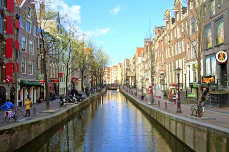 amsterdam canal: Red Light District in Amsterdam the Netherlands Editorial