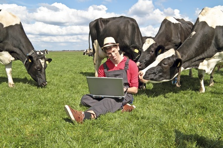 Dutch farmer with his laptop between the cows in the countryside