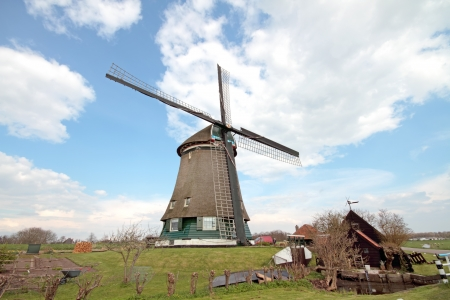 Historical windmill in typical dutch landscape photo