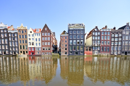 amsterdam canal: Facades at the water front in Amsterdam the Netherlands