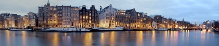 amsterdam canal: Panoramic view from Amsterdam in the Netherlands