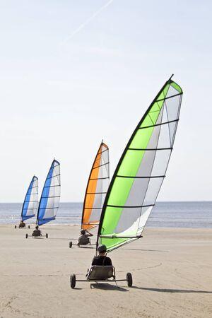 carting: Sail carting at the north sea coast in the Netherlands