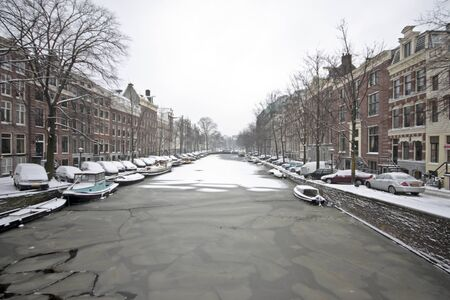 Snowy Amsterdam in the Netherlands photo