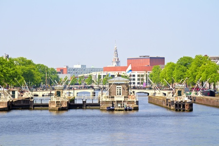 amstel: Floodgates in the river Amstel in Amsterdam the Netherlands