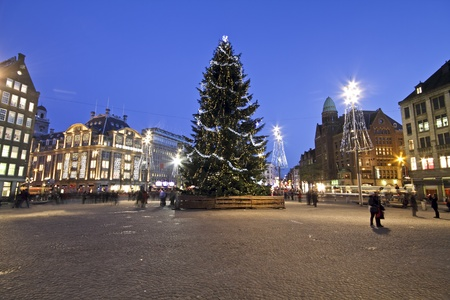 The damsquare at christmas in Amsterdam the Netherlands Stock Photo