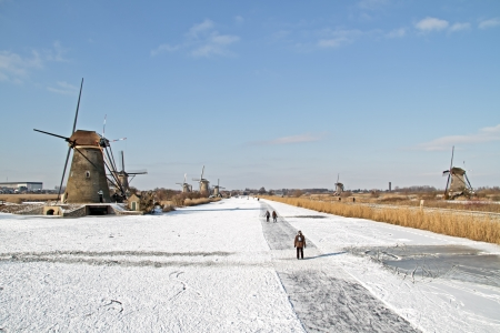 Ice skating at Kinderdijk in the winter in the Netherlands