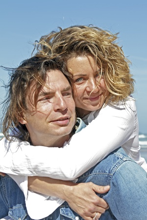Couple in love at the beach photo