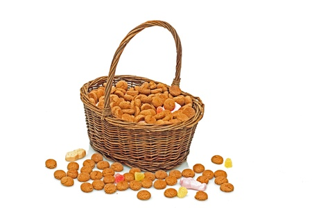 gingernuts: Basket full of gingernuts and sweets for 5 december