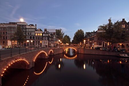 Amsterdam by night in the Netherlands photo
