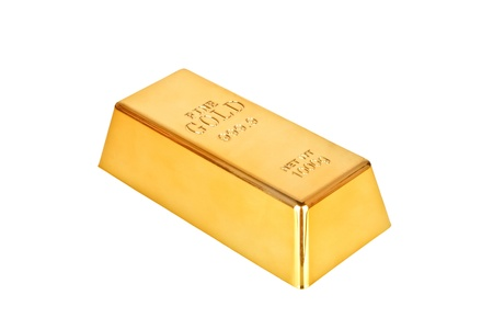 1 object: Gold bar on a white background Stock Photo