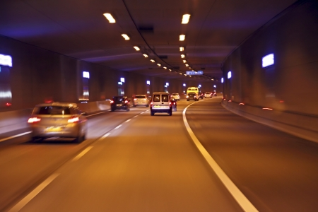 Driving through a tunnel in the Netherlands