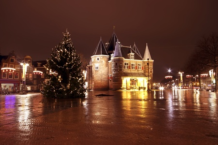 Christmas in Amsterdam at the Nieuwmarkt in the Netherlands by night photo