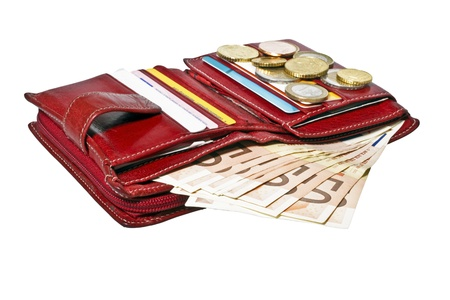 takings: Red wallet with cards and euro money