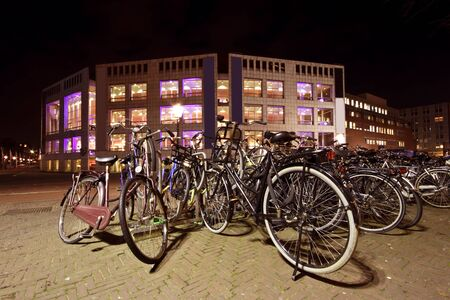 Bikes in Amsterdam city center in the Netherlands photo