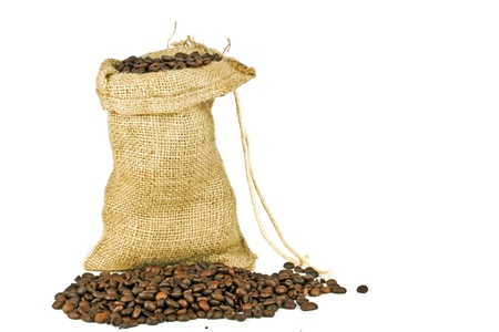 decaffeinated: Coffee beans in a jute bag on a white background