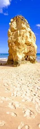 praia: Panorama from huge rock on Praia da Rocha in Portugal Stock Photo
