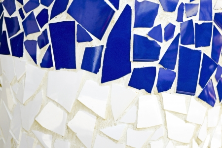 Blue and white tiled wall photo