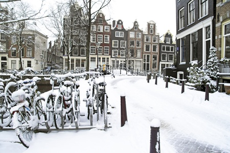 Snowy Amsterdam in the Netherlands