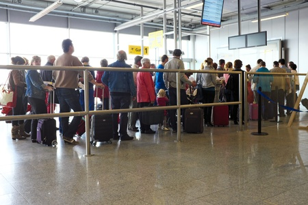 eindhoven: Travellers ready for boarding at Eindhoven airport in the Netherlands