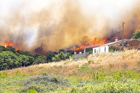 threatens: Huge forest fire threatens homes in Portugal