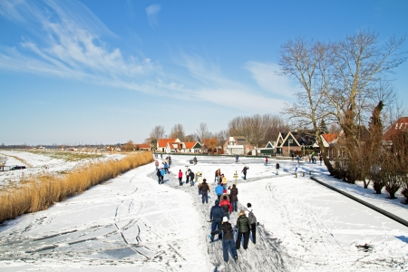 wintersport: Ice skating in the countryside from the Netherlands